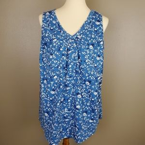 Women Within Blue Floral Tank Top Size 1X (22/24)